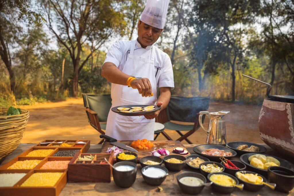 Cooking in the forest at Aman-i-Khas